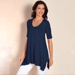 Soft Surroundings Timely Top/Tunic in Navy Cosmos